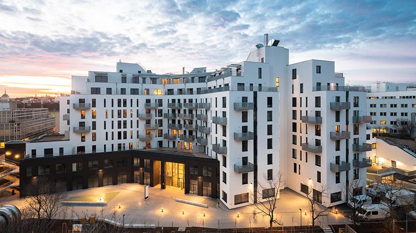 Moderní bytový komplex bytů ve Vídni