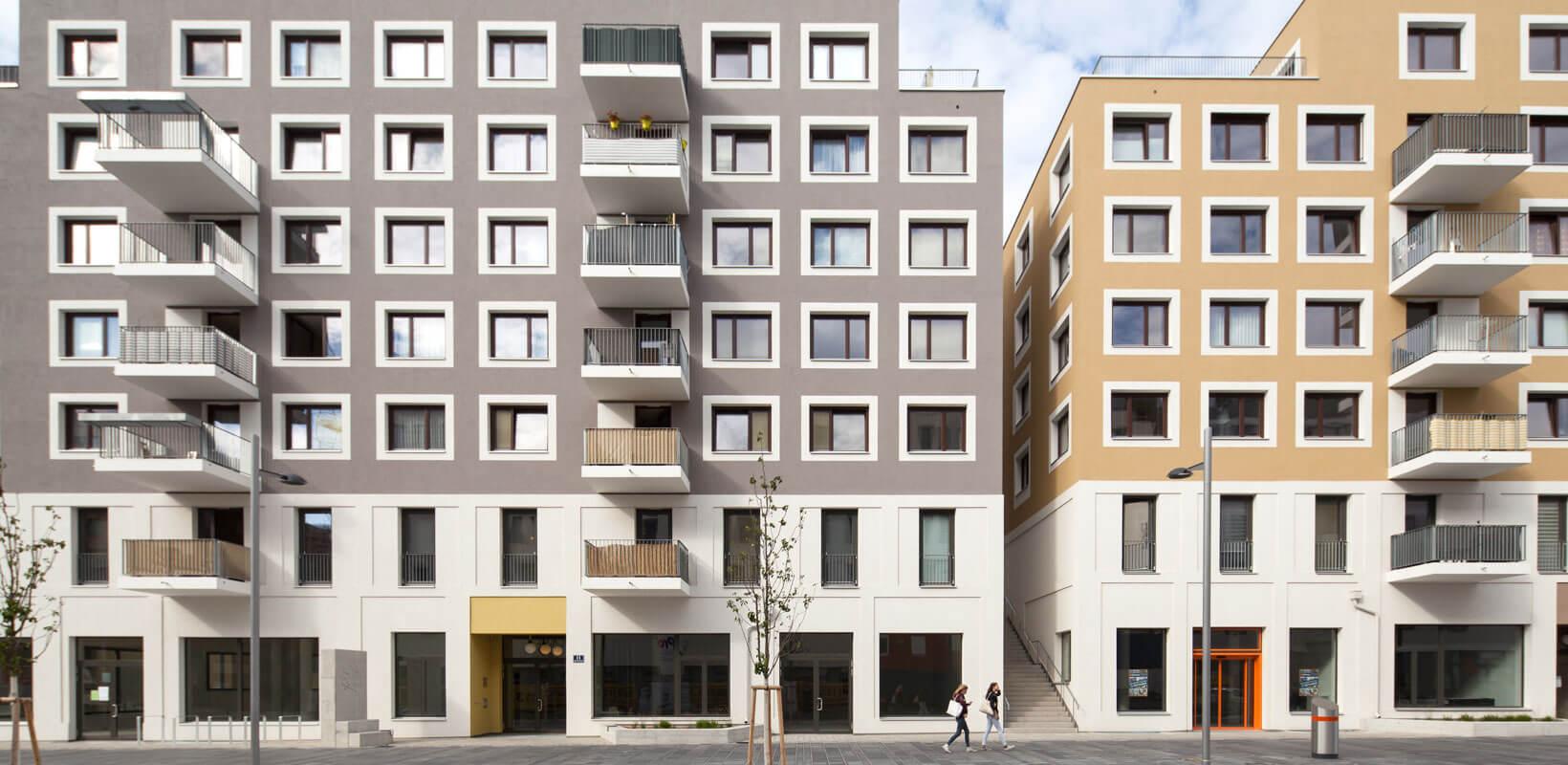 Vizualizace pření strany rezidenčního projektu: Dům pro život, Aspern, Rakousko