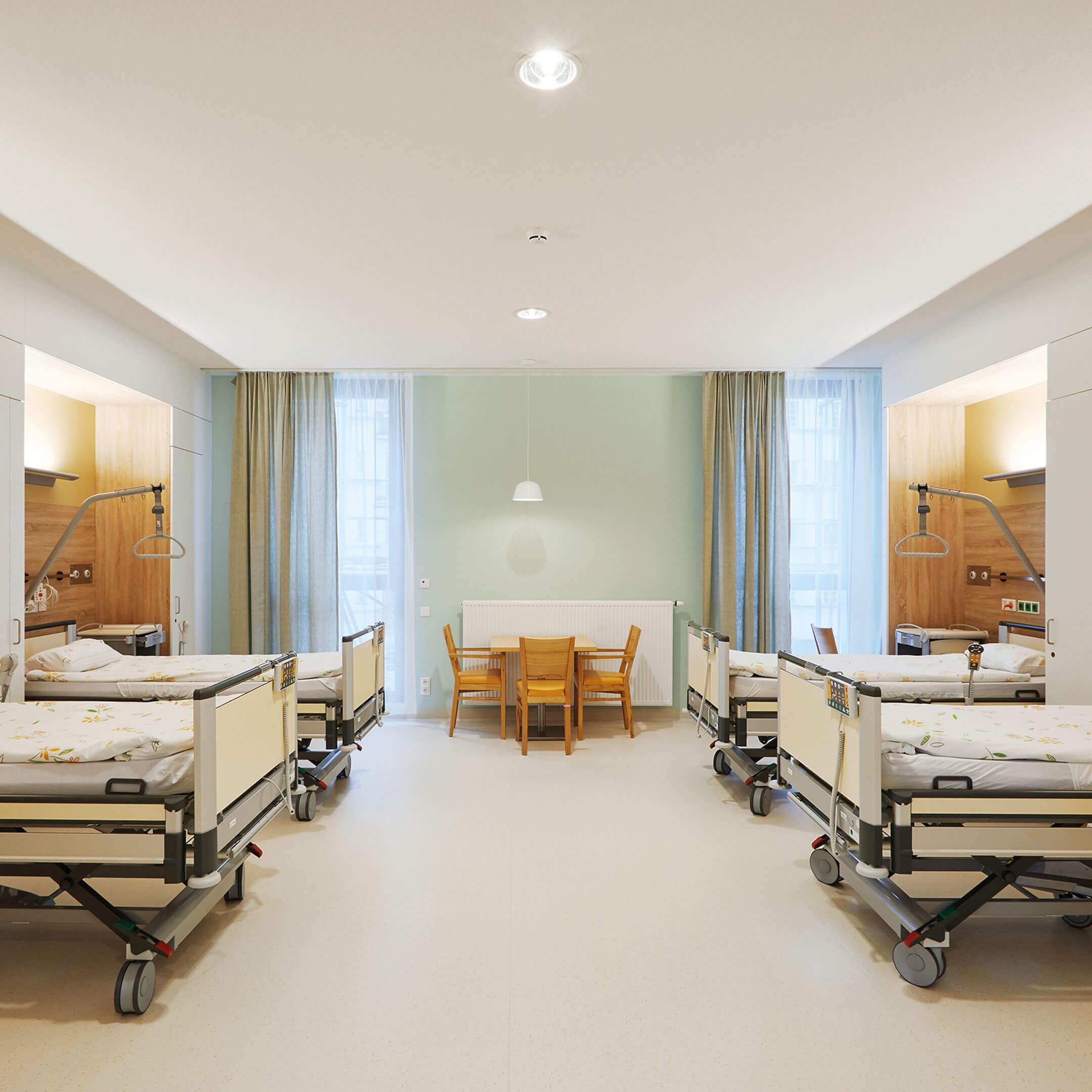 Nemocniční pokoj v nemocnici sester Alžbětinek, Vídeň, Rakousko