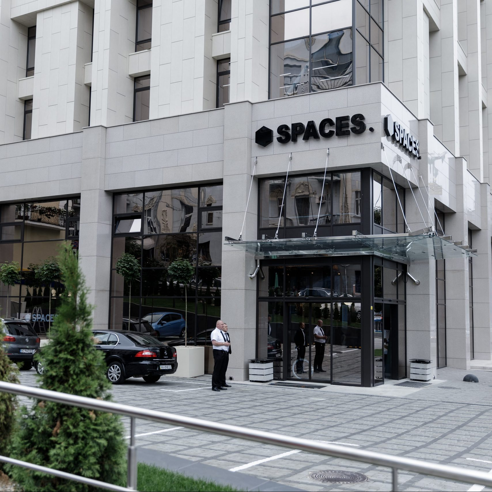 Vnější pohled na administrativní budovu SPACES na Ukrajině
