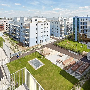 Bytový dům Schichtgründe s ptačí perspektivy