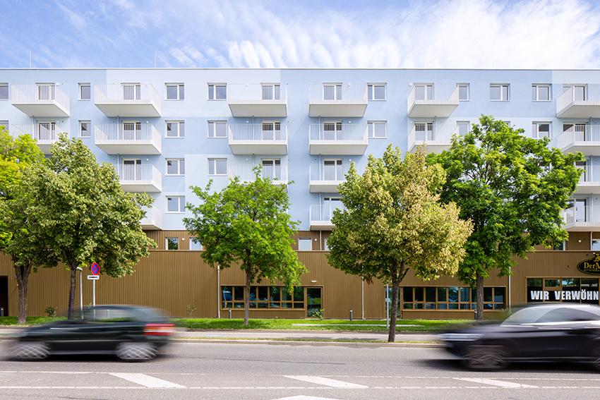 Přední strana bytového domu Schichtgründe ve Vídni