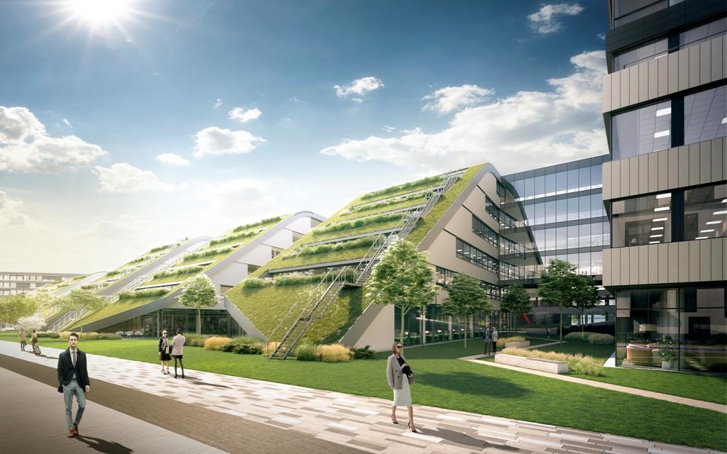 Vizualizace administrativní budovy DOCK IN FIVE s travnatou střechou