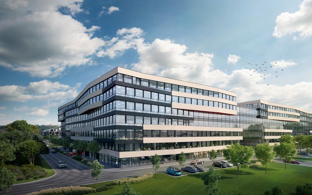 Vizualizace administrativní budovy DOCK IN FIVE v Praze