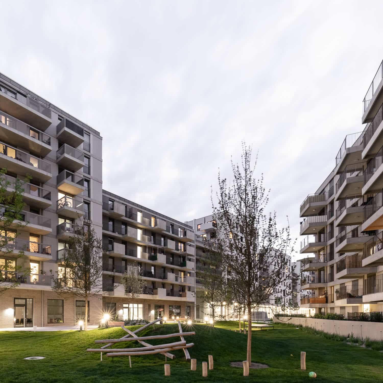 Bytová výstavba ve Nordbahnhof ve Vídni