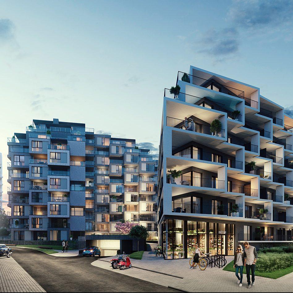 Vizualizace řadových bytových domů Hagibor v Praze