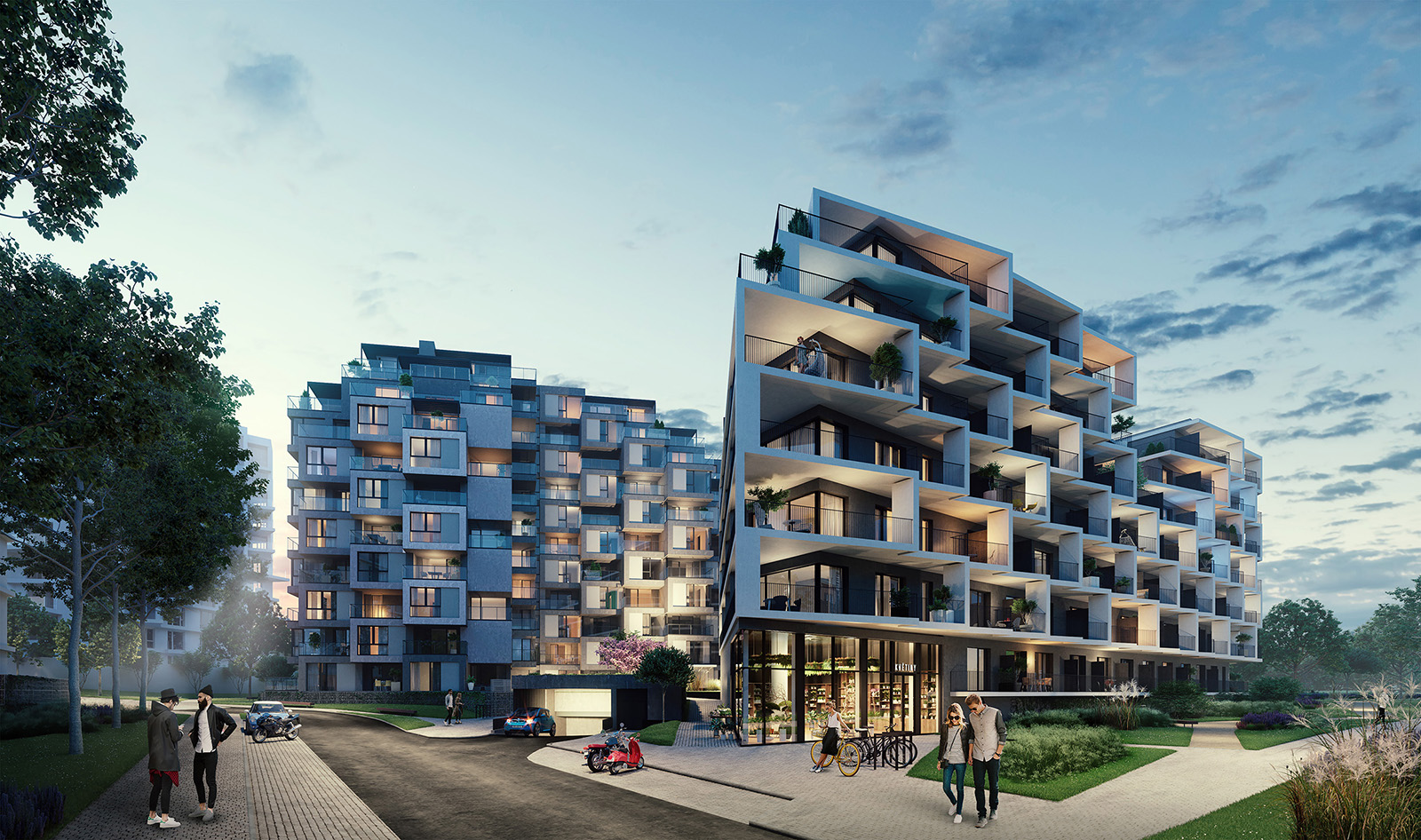 Vizualizace bytových domů Hagibor v Praze