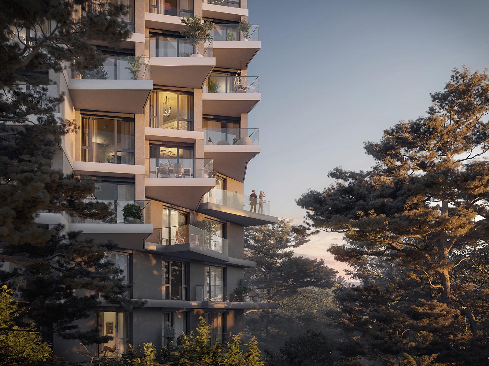 Vizualizace balkónů bytových domů Hagibor v Praze