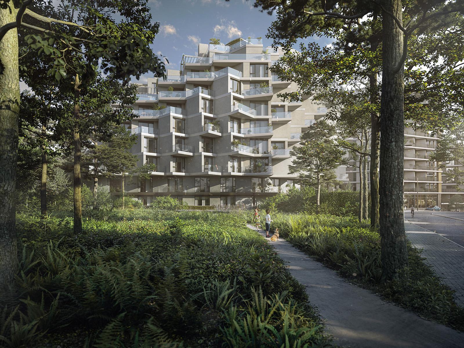Vizualizace přírodní části bytových domů Hagibor v Praze