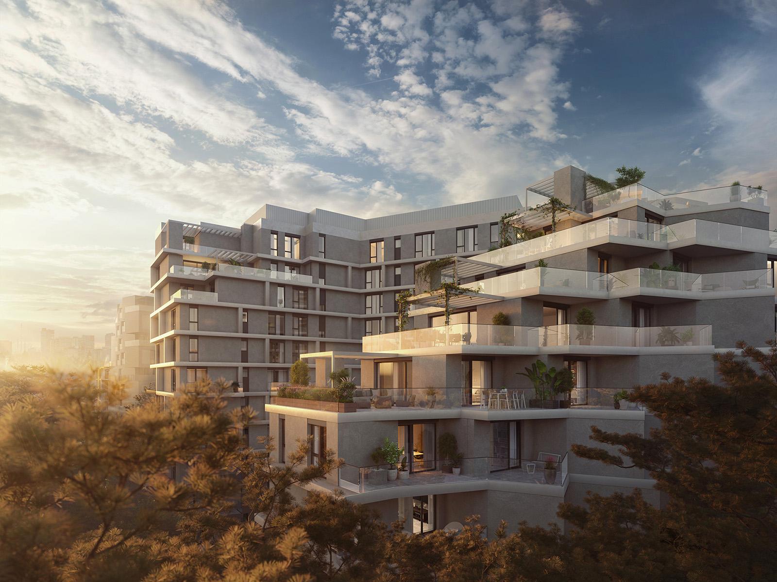 Vizualizace bytových domů s balkóny Hagibor v Praze