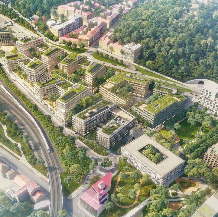 pohled na komplex budov Smíchov Praha